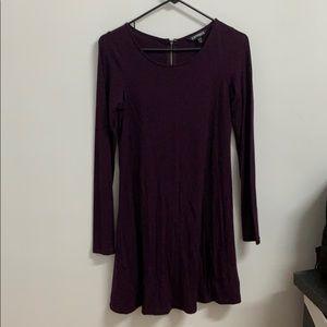 Plum long sleeve a-line dress